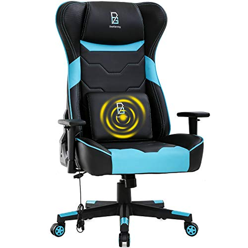 PC Gaming Chair Racing Computer Chair Massage Office Chair with Adjustable Lumbar Support Headrest Armrest Swivel Rolling High Back Recliner Desk Chair for Adults Women(Blue) chair gaming