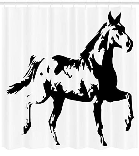 123456789 Animal Douche Gordijn Hardlopen Paard Silhouette Print voor Badkamer