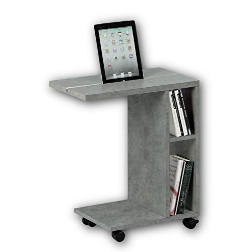 Stella Trading LATINO Moderner Beistelltisch auf Rollen in Beton-Optik - mobiler Couchtisch mit praktischer Tablet Schiene & Regal für Ihren Wohnbereich - 50 x 60 x 30 cm (B/H/T)