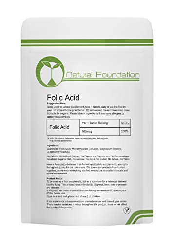 Folic Acid Vitamina B9 400 mcg tabletas Pre Pregnancy | Natural Foundation Supplements (250)