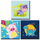 Dystart 3 Set DIY Oil Painting Kit , Paint by Numbers for Kids, 8 x 8 inch Canvas with Wooden Frame(Happy Animals 01)