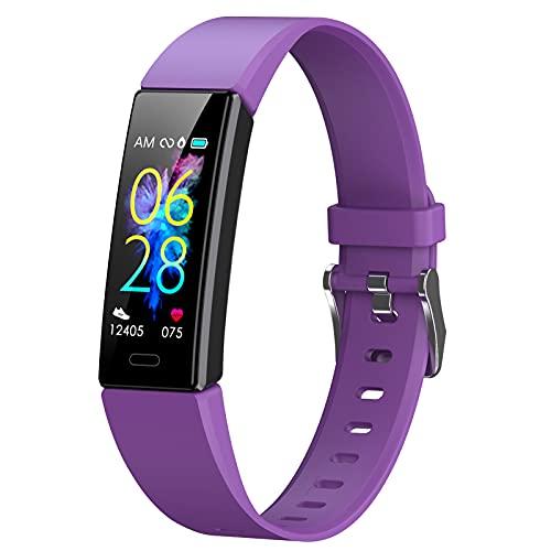 BNMY Actividad Inteligente Reloj Inteligente Deportivo Impermeable IP68 para Hombre Mujer Niños Smartwatch con Pulsómetros Monitor De Sueño Caloría Podómetro,Regalo para Mujer Hombre Niños,Púrpura