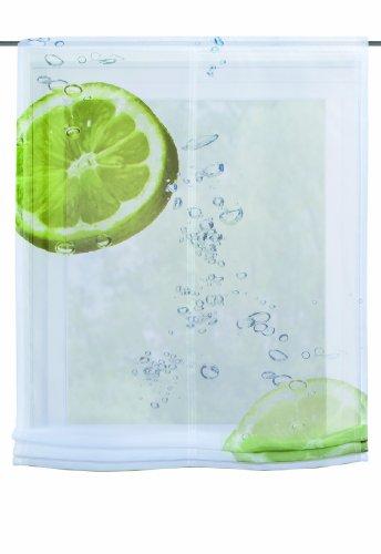 Home Fashion 82262-768 Raffrollo Digitaldruck Hamilton Voile, mit Zubehör, 140 x 120 cm, grün