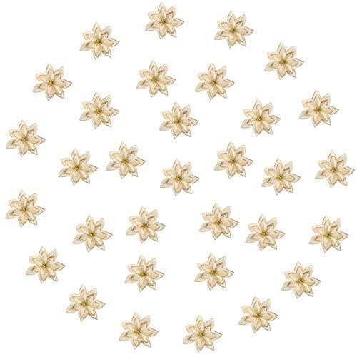NAHUAA 24 Pz Fiori Artificiali Glitterati Ornamenti Oro Albero di Natale Fiori di Natale Addobbi per Feste Matrimonio Ghirlande Decorazioni Albero