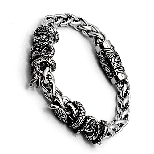 AMOZ Hombres 's Hip Hop Pulsera de Cadena de Dragón de Serpiente de Doble Cabeza Vintage Acero Inoxidable Hebilla Magnética Enlace Grabadong Rune Totem Rr