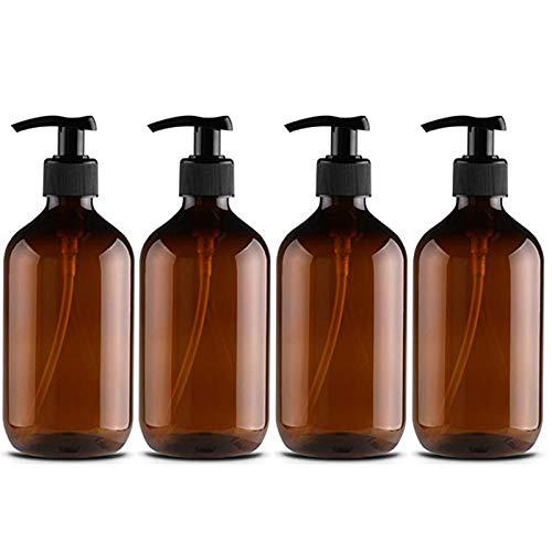 LUERME ポンプ瓶 500ml ポンプボトル 遮光瓶 ドロップポンプ 詰め替え容器 シャンプーハンドソープ 茶色 PET製 4本セット