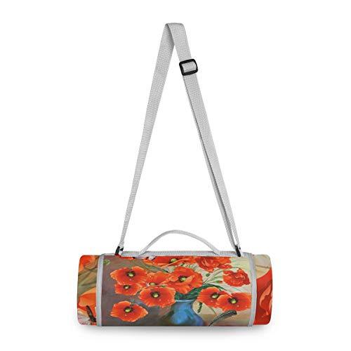 LORONA Poppies Vaas Kunst Traditioneel Outdoor Picknick Deken Ronde Extra Groot Zand Bewijs en Beste Waterdichte Draagbare Strand Mat voor Camping Wandelen Festivals