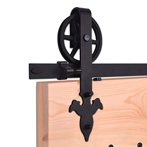 320cm/10.5FT Innentüren Scheunentor Hardware schwarz Stahl Schiebetür Track Roller Set,Laufschiene Schiebetürbeschlag/sliding barn door hardware big wheel