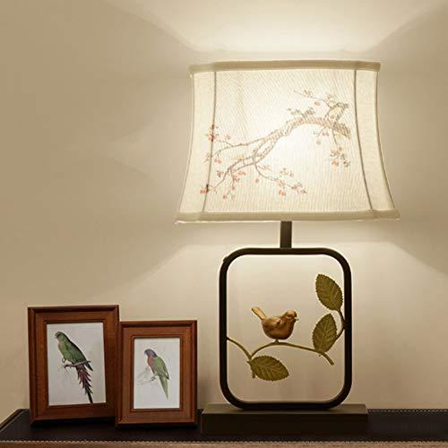 GUOGEGE Lampe De Table Rétro Chinoise Lampe De Chevet Imitation Classique Rétro Lampe en Bois Massif Salon Étude Abat-Jour en Tissu Fait Main