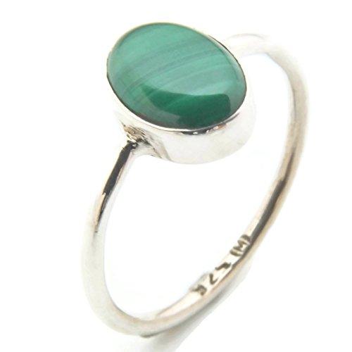 Ring Silber 925 Sterlingsilber Malachit grün Stein (Nr: MRI 100), Ringgröße:54