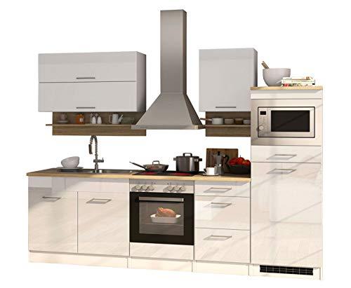 lifestyle4living Küche mit Elektrogeräten 270cm | Küchenzeile Küchenblock Einbauküche E-Geräte | Hochglanz Weiß/Eiche Sonoma