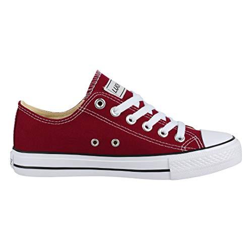 Elara Zapatos de Deporte Unisex Low Top Textil Chunkyrayan Vino 01-AN-45-BR