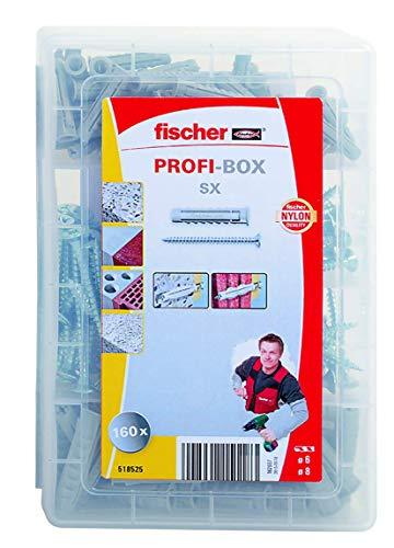 Fischer 518525 Meister-Box Spreizdübel SX + Schrauben, Dübel und Schrauben Set, 160 Teile