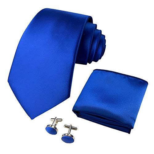 CANGRON Hombres Juego de corbata azul royal corbata con pañuelo gemelos caja regalo DLSC8BL
