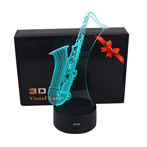 Visual 3D Lamp Saxophone Instrument Toys 2D Night Light Touch W/USB Cable Birthday Christmas Gift for Boys Kids Adult Acrylic Table Furniture Decorative Colorful 7 Color Change Household Accessories