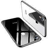 TORRAS iPhone XR ケース 6.1インチ 対応 TPU 背面クリア+メッキ加工 【2019年進化版】 黄変防止 ソフト アイフォンXR 耐衝撃カバー(ブラック)[ Shiny Series]