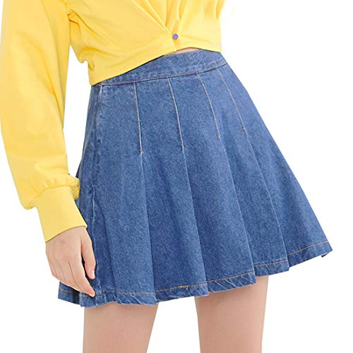 Girls Women's Denim Skirts Short High Waist Pleated Skater Tennis School Skirt (Blue Denim, Medium)