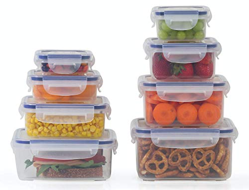 8 Clear Food Storage Containers Set, Microwave and Freezer Safe, Little Big Box, by Popit!