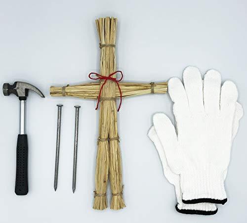 わら人形 (大) 五寸釘 ハンマー 軍手 入り 日本製 藁人形 ワラ人形 丑の時参り の劇や 地獄少女 呪術廻戦 のコスプレに!