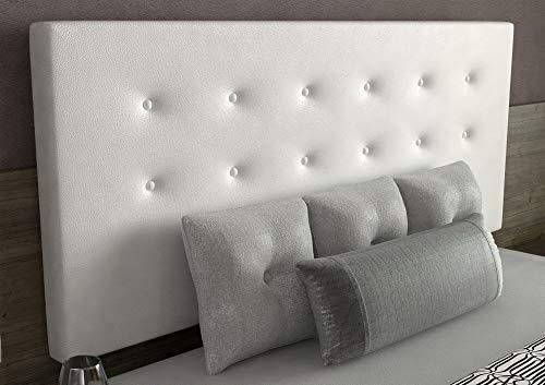 LA WEB DEL COLCHON - Cabecero tapizado Siros para Cama de 135 (145 x 70 cms) Blanco   Cama Juvenil   Cama Matrimonio   Cabezal Cama  