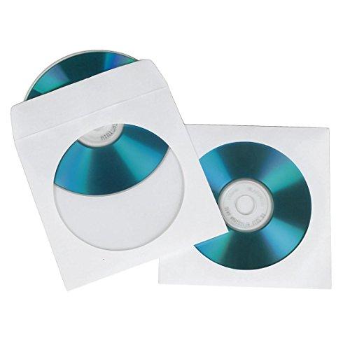 Hama CD-/DVD-/Blu-ray papieren hoezen (met transparant kijkvenster, afsluitbaar) pak van 100, wit