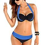 Yuson Girl Mujer Ropa de Baño Tops de Bikini con Relleno Traje de Baño Push up Bañador de Cuello Hálter Mujer Push-up Bikini (Azul, ES40)