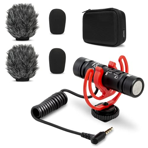 Movo DoubleMic Two-Sided Supercardioid Video Shotgun Microphone for iPhone, Android, Smartphones or DSLR Camera - Dual Capsule External Mic for Vlogging, Filmmaking, Interviews, YouTube, Recording