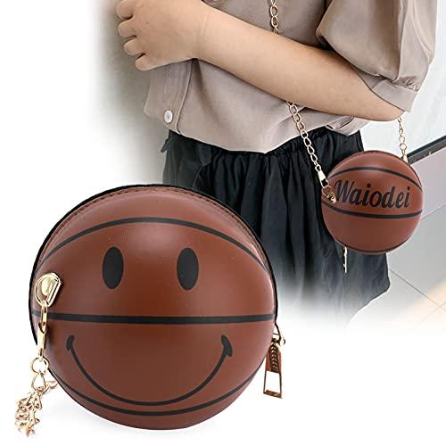 Bolso cruzado, elegante y especial, de cuero de PU, redondo, con forma de baloncesto, bandolera de baloncesto, todo a juego para mujeres y niñas para uso diario para viajes de compras(brown)