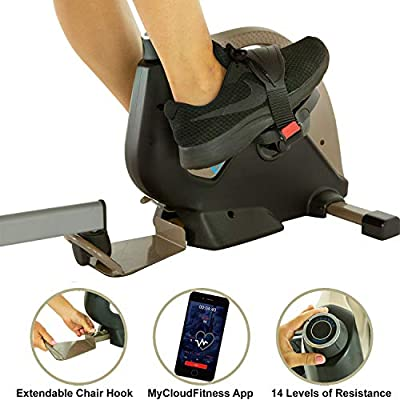 EXERPEUTIC Bluetooth Under Desk Exercise Bike with Extendable Chair Hook for All User Height and Free MycloudFitness APP, Gold, Black (7149) not EXERPEUTIC 900E Bluetooth Under Desk All User Height