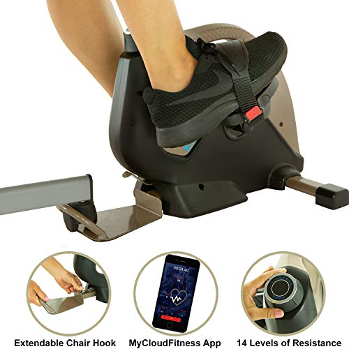 EXERPEUTIC Bluetooth Under Desk Exercise Bike with...