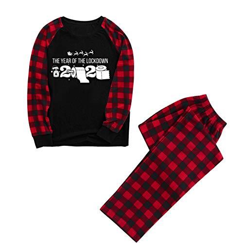 CrazyYoung Weihnachtsfamilie passende Pyjamas Set Weihnachten Familie PJs Set Langarm...