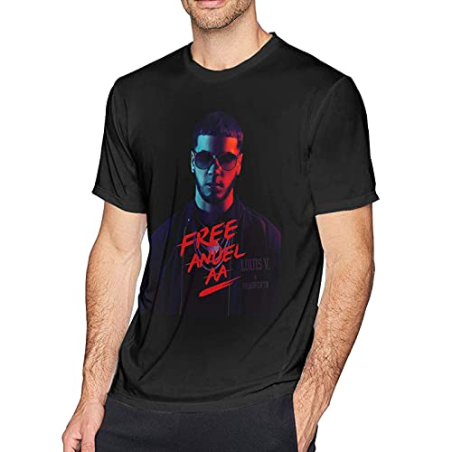 an-Uel AA Men Classic Breathable Crew T Shirt Music Short Sleeve tee Men Casual Tunics Black
