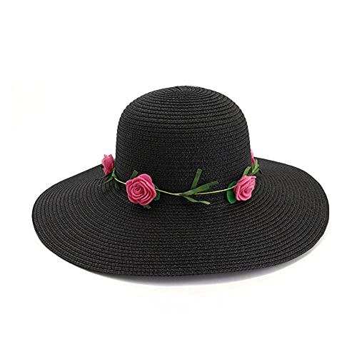 Sombrero de Paja para Mujer Flores al Aire Libre Playa Hat Sombrero Protector DE Sol Sol Sopor sobre Big Brim Hombre Cambio Cambio DE Venta DE Playa DE Verano-C3