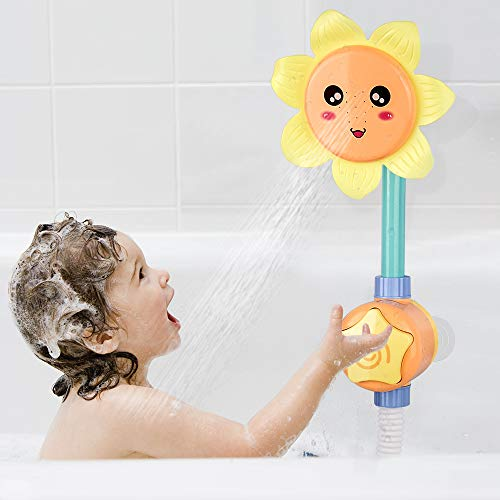 KinderUP Baby Bath Shower Toy for Toddlers, Battery Operated Sunflower Water Squirt Shower Faucet and Bathtub Water Pump for Infants