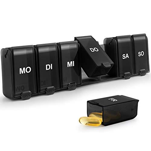 SUKUOS Tablettenbox 7 Tage, Pillendose 7 Fächer 2020 Schnelles Füllen & Verwenden Pillenbox Medikamentendosierer Woche - Abnehmbar