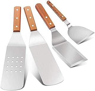Ganata Lot de 4 spatules en acier inoxydable - Spatule lisse et perforée - Avec manche en bois - Pour plaques de cuisson T...