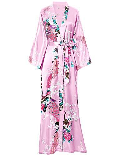 BABEYOND Kimono de Seda Vestido de Satén Kimono Pavo Real Novia Pijamas de Seda Bata de Satén (Rosa)