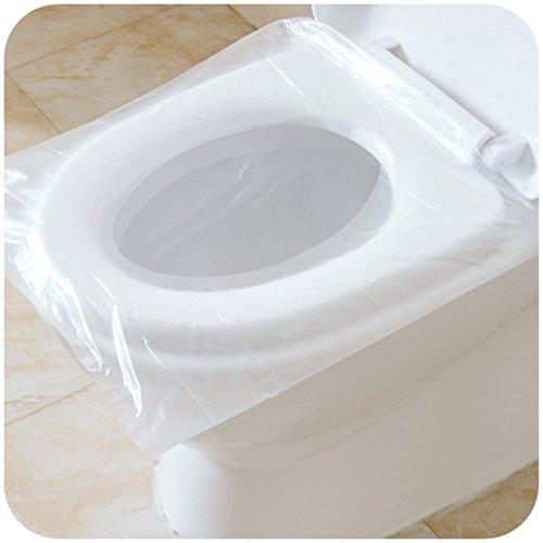 Lot de 50 Couvre-sièges pour abattant Wc antibactérien étanche jetable Portable de voyage Housse Wc pour Femme enceinte, emballage individuel