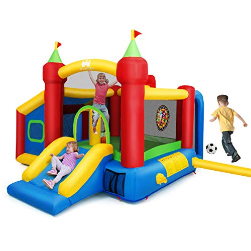 Costzon Inflatable Bounce House, 7-in-1 Jump and Slide Bouncer w/ Basketball Rim, Football & Ocean Ball Playing Area, Dart Target, Including Oxford Carry Bag, Hand Pump, Stakes (Without Blower)