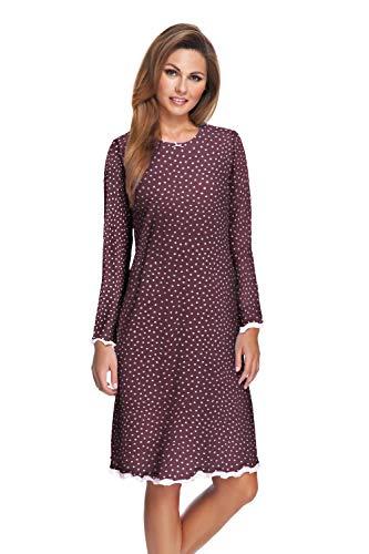 e.FEMME Damen Langarm Nachthemd Marion 333 aus Baumwolle mit Modal in der Farbe Bordeaux getupft in Größe 42