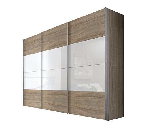 Express Möbel Schwebetürenschrank 3-türig 300 cm breite, Eiche Sonoma Nachbildung mit Absetzung Weißglas, BxHxT 300x216x68 cm, Art Nr. 49620-761