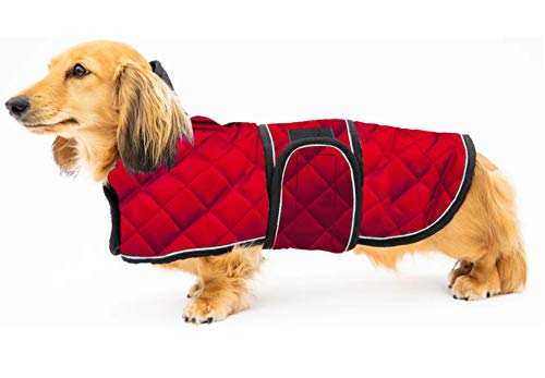 Geyecete Warm Thermal Quilted Dachshund Coat, Dog Winter Coat with Warm Fleece Lining, Outdoor Dog Apparel with Adjustable Bands for Medium, Large Dog -Red-L