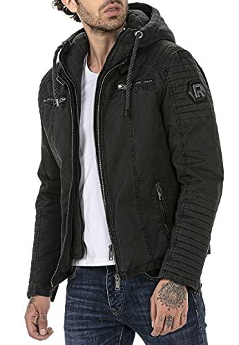 Redbridge Chaqueta de invierno para hombre acolchada con capucha desmontable Negro XL