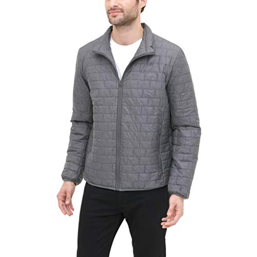 Dockers Men's Lightweight Ultra Loft Quilted Packable Jacket (Regular and Big & Tall), Heather Grey, Medium