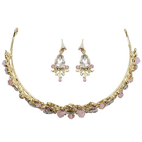 KAPAYONO Coronas nupciales de del oro rosado Diadema de la novia de la tiara de la boda hecha a mano Diadema de la boda cristalina Accesorios del pelo de la boda de la corona de la reina