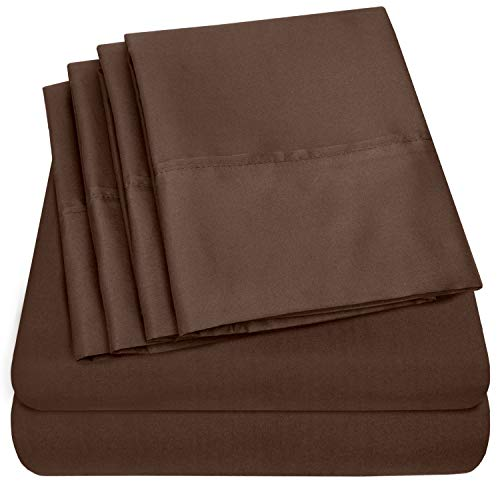 Sweet Home Collection Queen Sheets-6 Piece 1500 Thread Count Fine Brushed Microfiber Deep Pocket Set-2 EXTRA PILLOW CASES, VALUE, Brown