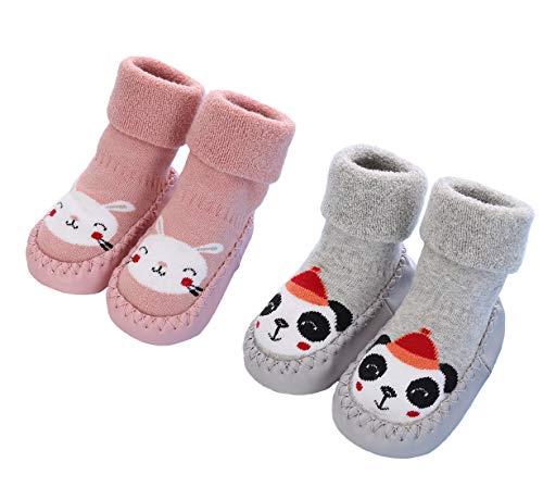 2 Paar Weiche Baby Hausschuhe Winter Socken Kleinkind Mädchen Hausschuhe Baumwolle Neugeborene Kinder Warme Lauflernschuhe Weiche Sohle rutschfest Krabbelschuhe, Rosa Grau, Größe 12-18 Monate