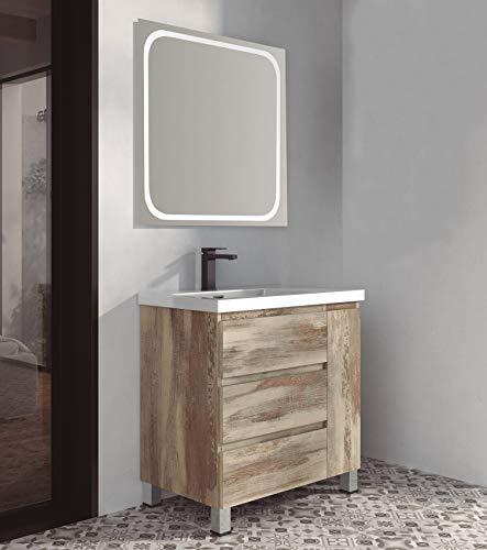 EL ALMACEN DEL PROFESIONAL Juego de Mueble de Baño Modelo Estonia Resina, Conjunto formado por Mueble de Baño Estilo Madera Color Bora-Bora Ancho 80cm, Lavabo de Resina y Espejo a Juego