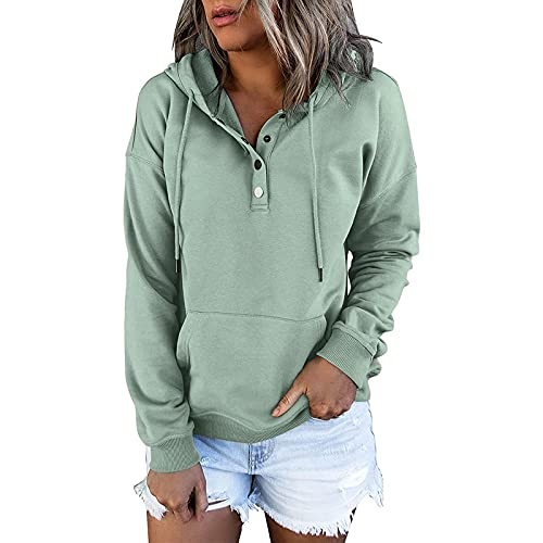 Sudaderas de mujer con botón de color sólido O-cuello casual de manga larga suéter bolsillo con cordón con capucha Tops, verde menta, 3XL