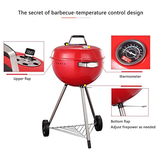 41gD16kz67L. SL500  - M-YN Tragbarer Holzkohlegrill Edelstahl Barbecue Grill Smoker Holzkohlegrill for Camping Picknick im Freien Garten-Party Grill BBQ, (Color : Red)